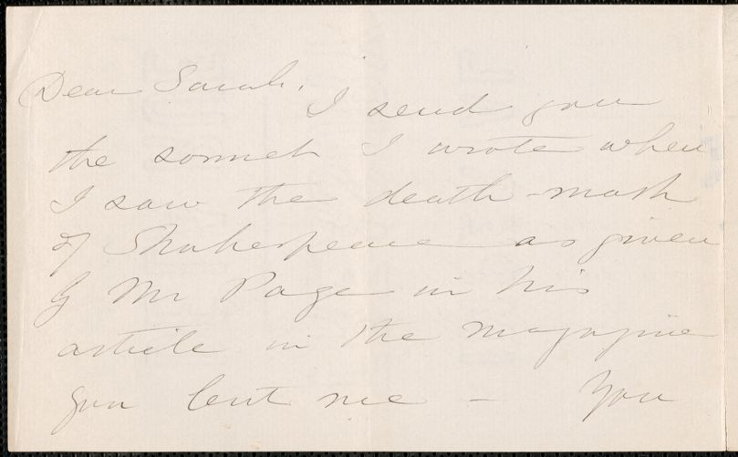 Caroline Sturgis Tappan autograph note signed to Sarah, 7 March