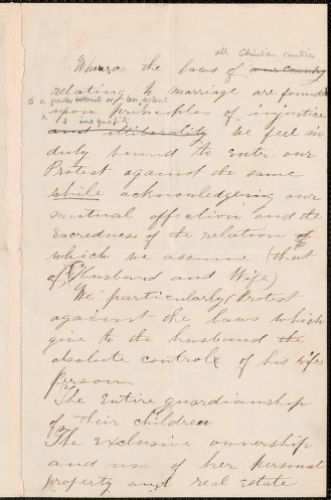 Sarah C. Morrill draft of a petition against marriage laws