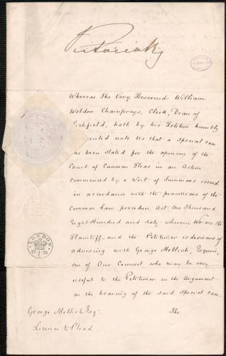George Melish license to plead, granted and stamped with Queen Victoria's seal, London, 21 January 1870