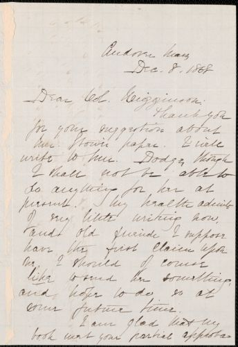 Elizabeth Stuart Phelps Ward autograph letter signed to Thomas Wentworth Higginson, Andover, Massachusetts, 8 December 1868