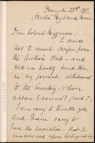 Elizabeth Stuart Phelps Ward autograph letter signed to Thomas Wentworth Higginson, Newton Highlands, Mass., 22 December 1892