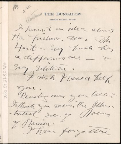 Ella Wheeler Wilcox autograph letter signed, Short Beach, Conn.