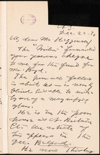 Ella Wheeler Wilcox autograph note signed to Thomas Wentworth Higginson, New York, 22 December 1896