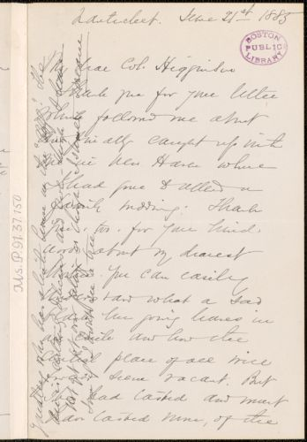 Sarah Chauncey Woolsey autograph letter signed to Thomas Wentworth Higginson, Nantucket, Mass., 11 June 1885