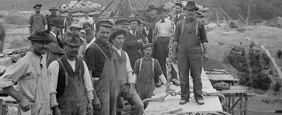 Wachusett Dam, laying the last stone, laid by John Mercer, laborer, Clinton, Mass., Jun. 24, 1905