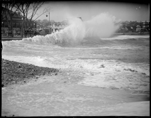 Beginning of Revere Beach surf at Roughan's Point opposite Eliot Circle & Oceanview Ballroom, formerly Condit's