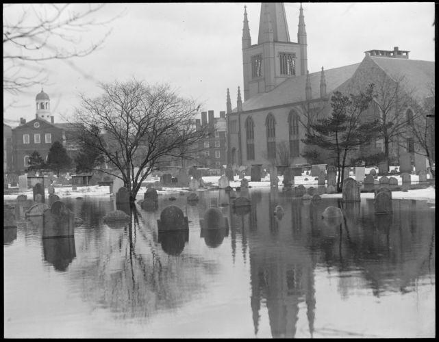 Historic graves in Cambridge under water