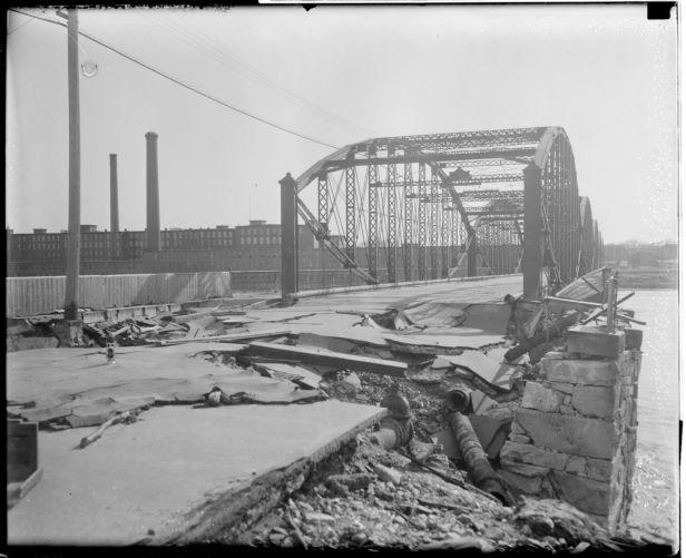 Bridge damaged, New England flood