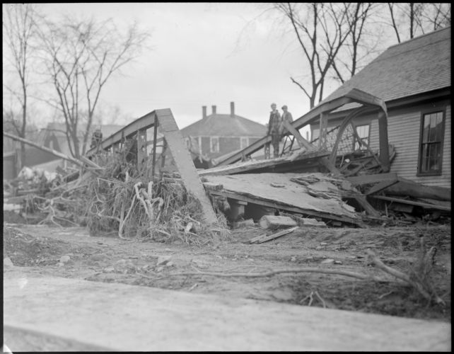 Flood destroys bridge, Colebrook, New Hampshire