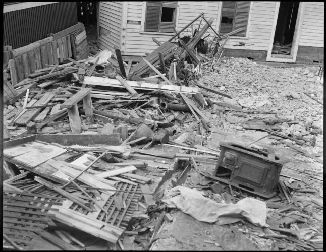 Cottage wrecked by storm, Beachmont, Revere