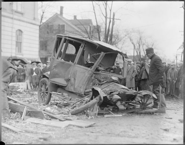 Auto crushed by church steeple, Woburn hurricane