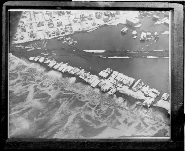 Aerial view of Beachmont, Revere, during nor'easter