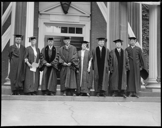 Dignitaries in front of Ballou Hall at Harvard