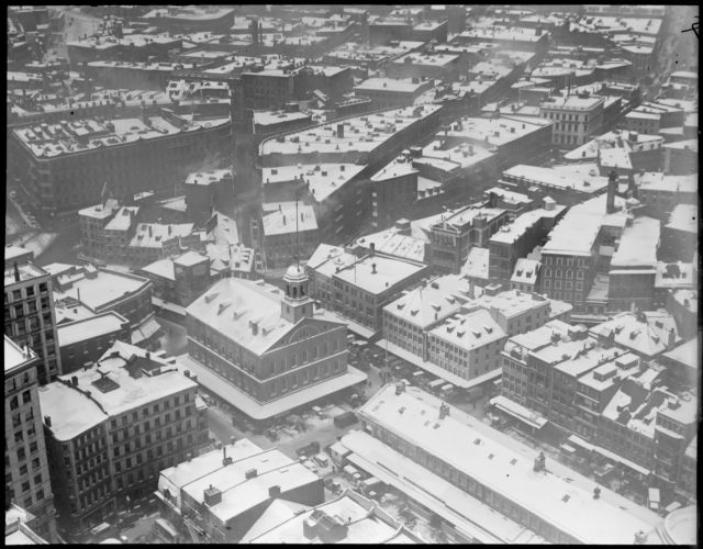 Bird's eye view of Faneuil Hall in winter, from Custom House Tower