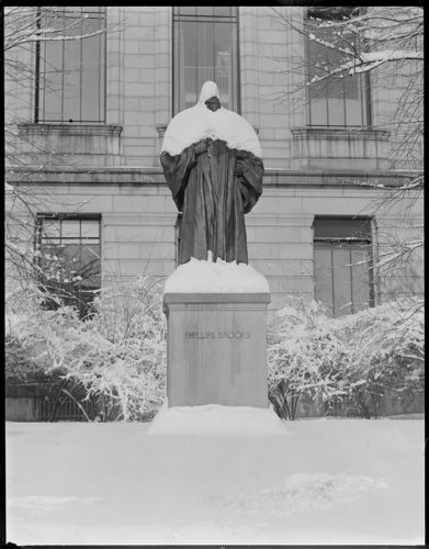 Phillips Brooks statue covered in snow, M.F.A.