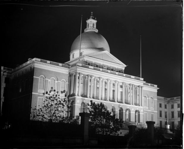 Mass. State House at night