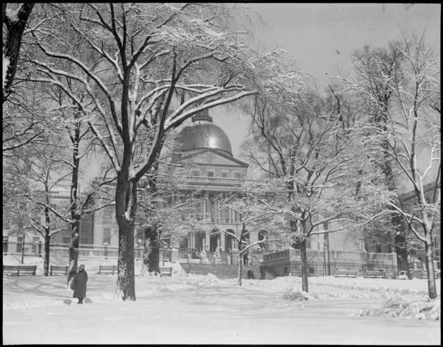 State House after a snowstorm; Mass. State House after a heavy snowfall