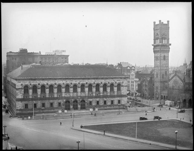 Copley Square showing Boston Public Library and new Old South Church, from Hotel Westminster
