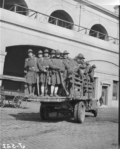 Police strike of 1919, state militia trucked in at Union Station