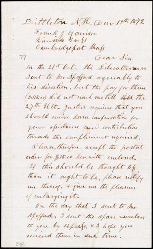 Letter from Edmund Carleton, Littleton, N.H., to Francis Jackson Garrison, Dec[embe]r 19th 1872