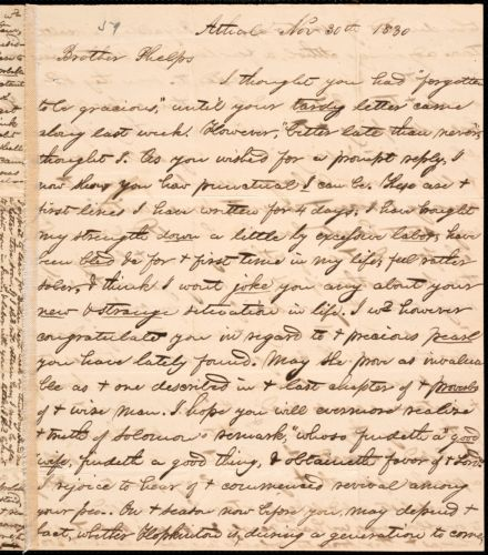 Letter from George Jeffrey Tillotson, Athol, [Mass.], to Amos Augustus Phelps, 1830 Nov[ember] 30th