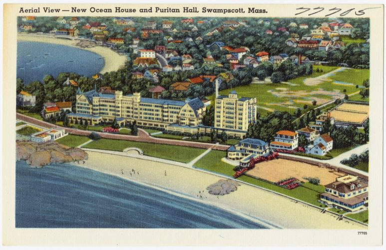 Aerial view -- New Ocean House and Puritan Hall, Swampscott, Mass.