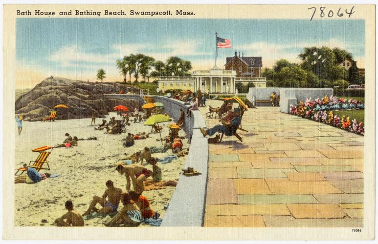 Bath house and bathing beach, Swampscott, Mass.