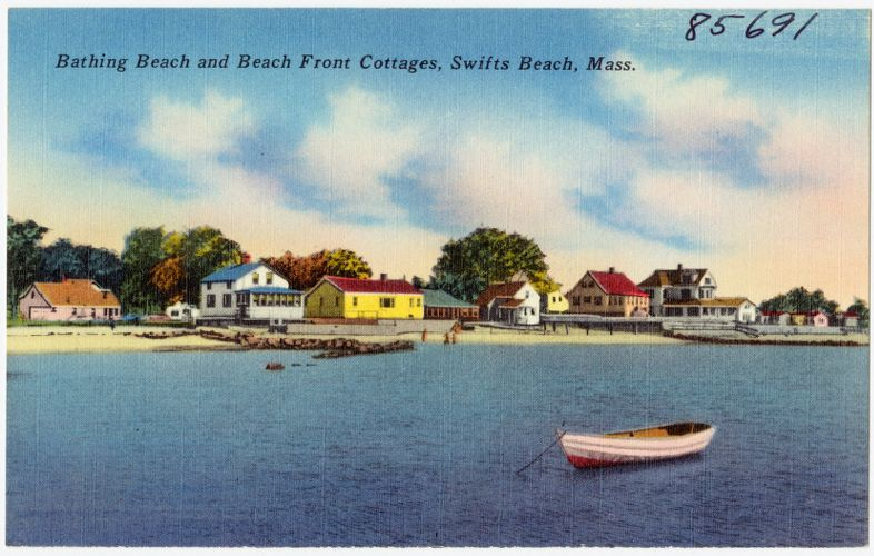 Bathing beach and beach front cottages, Swifts Beach, Mass.