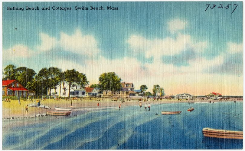 Bathing beach and cottages, Swifts Beach, Mass.
