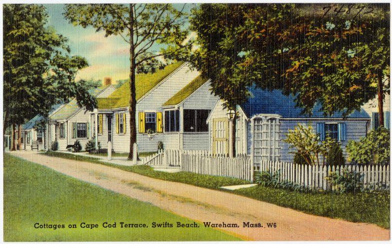 Cottages on Cape Cod terrace, Swifts Beach, Wareham, Mass.