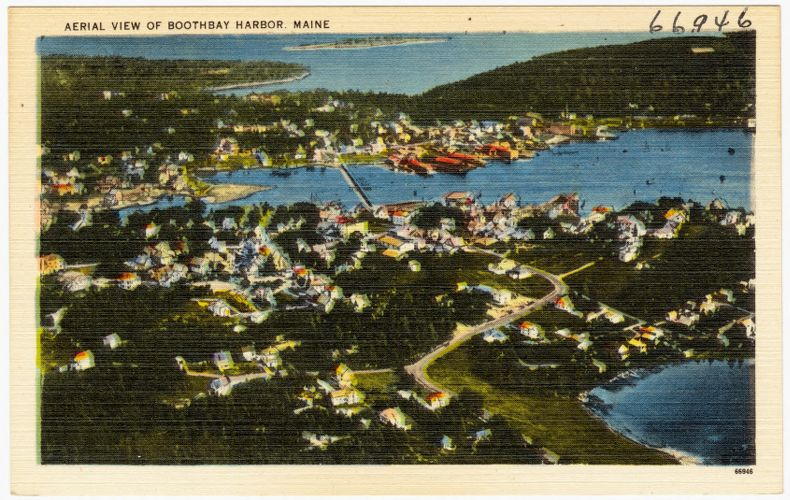Aerial view of Boothbay Harbor, Maine
