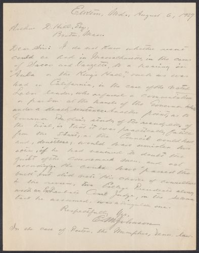 Sacco-Vanzetti Case Records, 1920-1928. Defense Papers. Arthur D. Hill Correspondence: I-J. Box 22, Folder 8, Harvard Law School Library, Historical & Special Collections