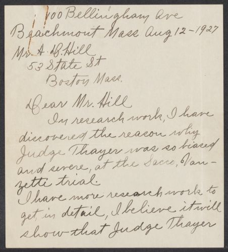 Sacco-Vanzetti Case Records, 1920-1928. Defense Papers. Arthur D. Hill Correspondence: R. Box 22, Folder 14, Harvard Law School Library, Historical & Special Collections
