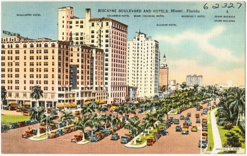 Biscayne Boulevard and hotels, Miami, Florida