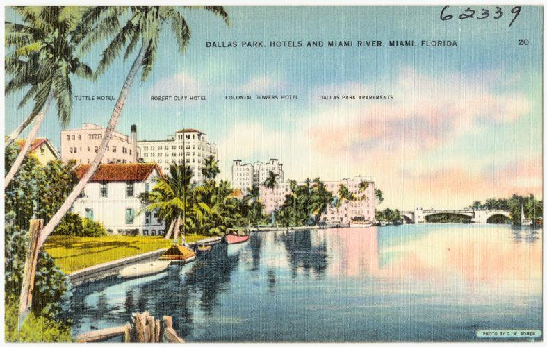 Dallas Park, hotels, and Miami River, Miami, Florida