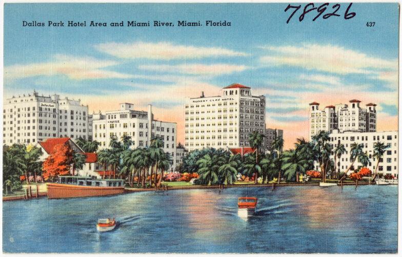 Dallas Park hotel area and Miami River, Miami, Florida
