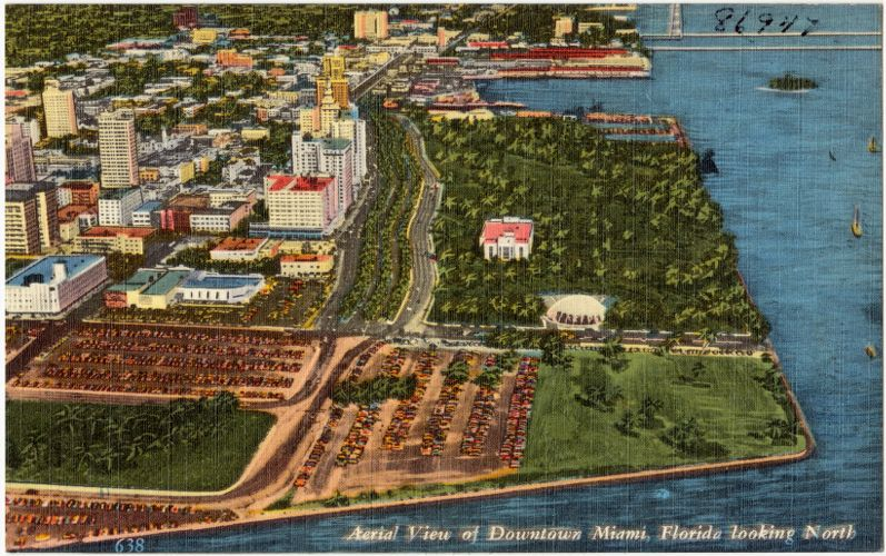 Aerial view of downtown Miami, Florida looking north