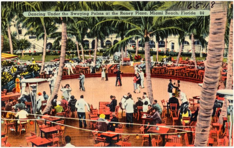 Dancing under the swaying palms at the Roney Plaza, Miami Beach, Florida