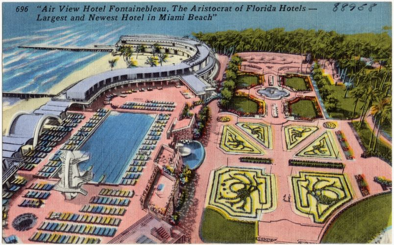 """Air view Hotel Fontainebleau, the aristocrat of Florida hotels- largest and newest hotel in Miami Beach"""