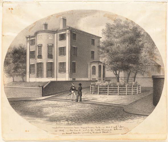 Jonathan Mason House: Mount Vernon & Walnut Sts. House built 1802, razed 1837. C. Bulfinch, arch.