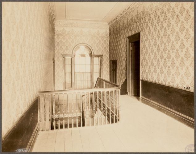 Massachusetts. Boston. 2 Lynde Street. Harrison Gray Otis House. (1793) Balustrade and Palladian window, second floor, rear