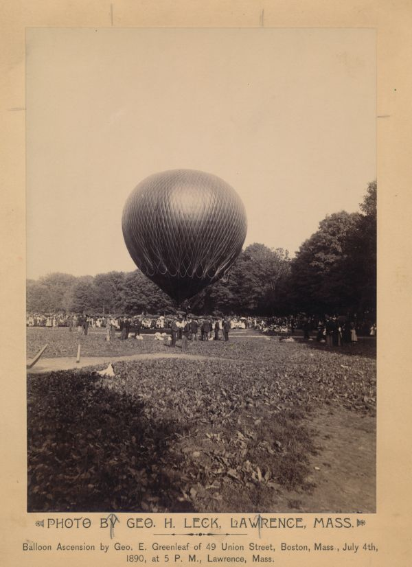 Balloon ascension by Geo. E. Greenleaf of 49 Union Street, Boston, Mass., July 4th, 1890, at 5 P.M., Lawrence, Mass.
