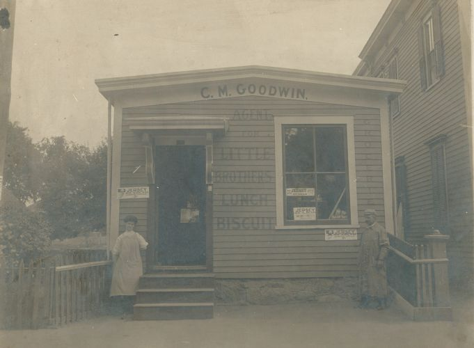 "View of C.M. Goodwin store, ""agent for Little Brothers Lunch Biscuits,"" Lawrence, Mass."