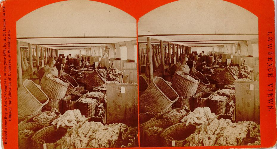 Interior view, Pacific cotton mills, wool sorting
