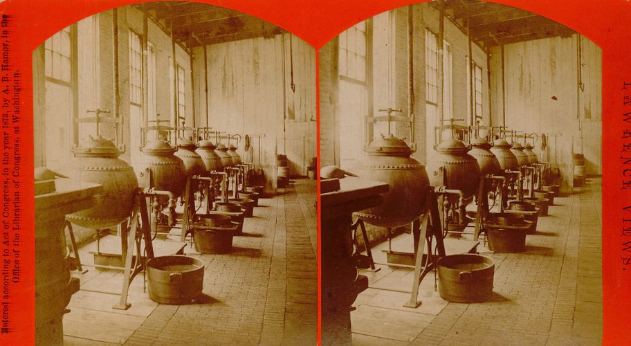 Interior view, Pacific cotton mills, boilers for dyes