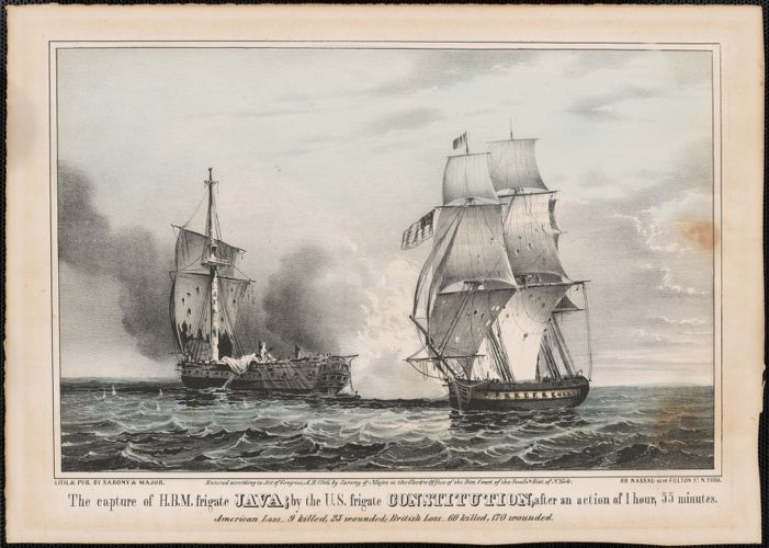 Capture of H.B.M. frigate Java; by the U.S. frigate Constitution, after an action of 1 hour, 55 minutes. American loss - 9 killed, 25 wounded; British loss - 60 killed, 170 wounded