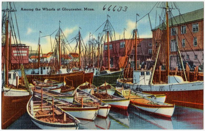 Along the Wharfs at Gloucester, Mass.
