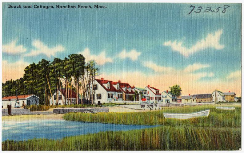 Beach and cottages, Hamilton Beach, Mass.