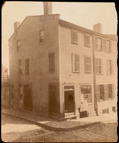 "John B. Wells House, North End, corner of Foster and Charter Streets (Foster was formerly ""Sliding Alley""). Sliding Alley was formerly Jackson-NarrowStreets of Boston"