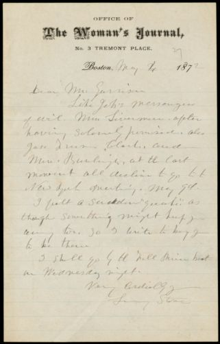 Letter from Lucy Stone, Office of The Woman's Journal, No. 3 Tremont Place, Boston, to William Lloyd Garrison, May 4, 1872